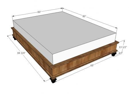 Platform bed.  modify to put box spring in the frame.