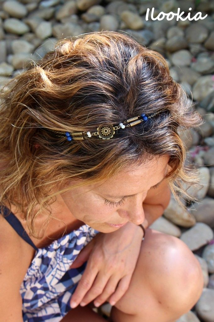 Ilookia - headband josephine nacre et lapis lazulli