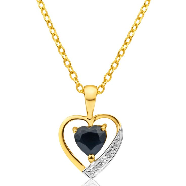 Natural Sapphire and Diamond Pendant in 9ct Gold