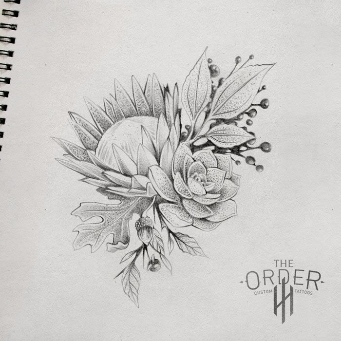 King Protea Drawing \x3cb\x3eking protea sketch\x3c/b\x3e - the order custom tattoos