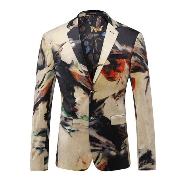 Fire Kirin Men Blazer 2017 Luxury Designer Colorful Mens Blazer Jacket Italian Stylish Fancy Suit Jacket Brand Prom Blazers Q202