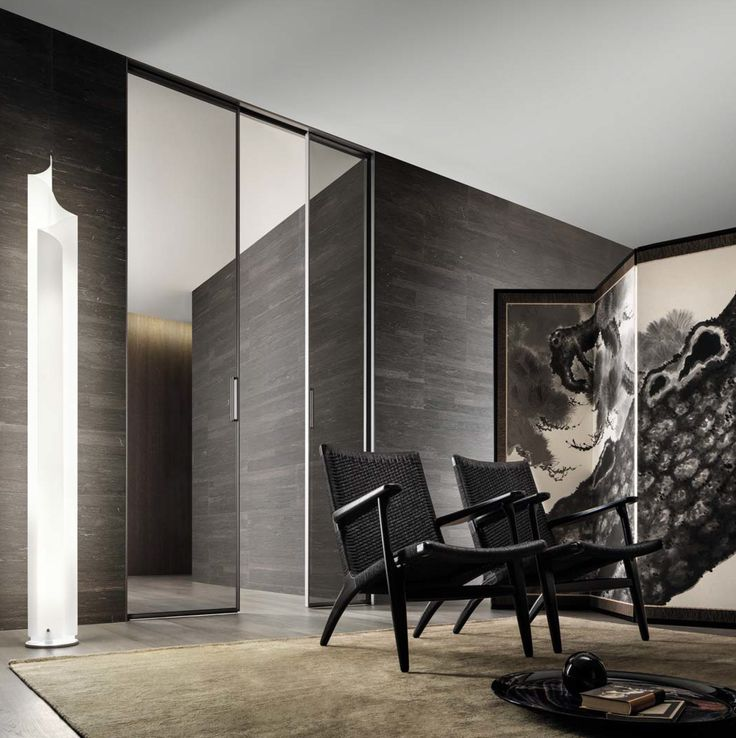 Zen, double sliding door with single glass, aluminum structure and handle in brushed lead, grey transparent glass.