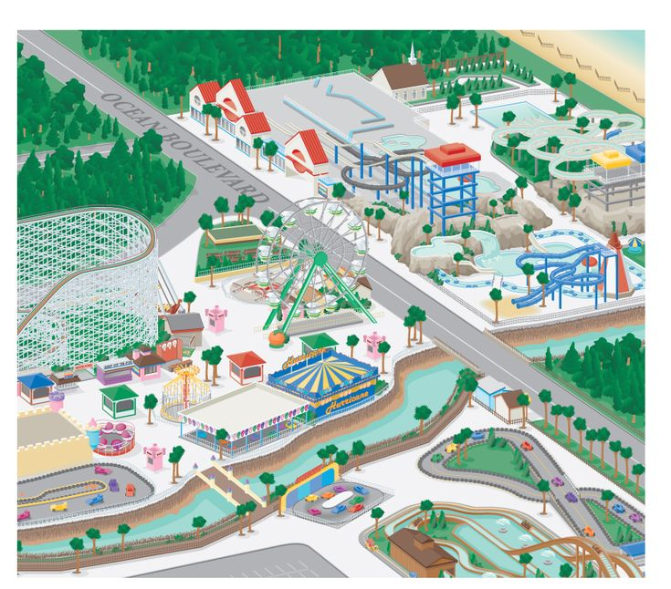 3D Amusement Park Map Illustration