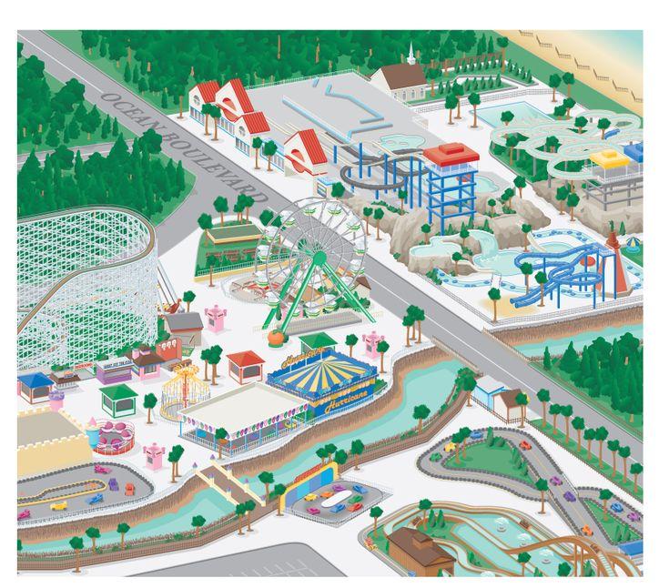 3D Amusement Park Map Illustration