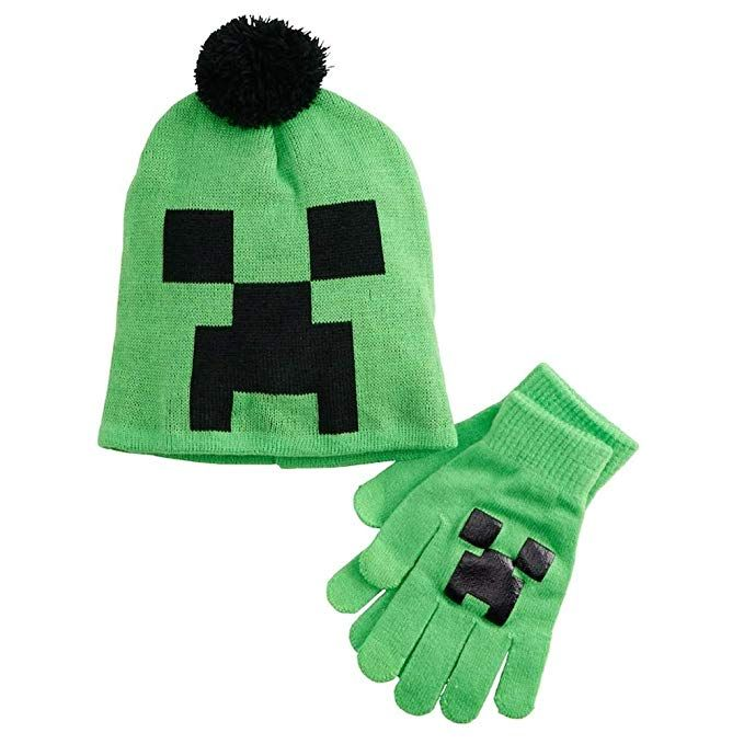 fa65c80d9c9 Minecraft Creeper Face Knit Pom Beanie Hat and Gloves Set ...