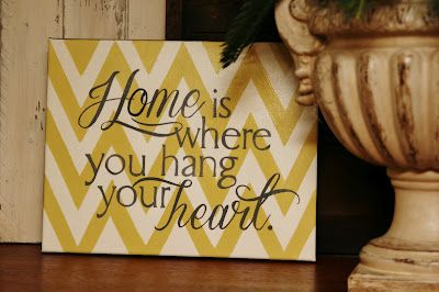 Home is where you hang your heart. Love this! #chevron #quote