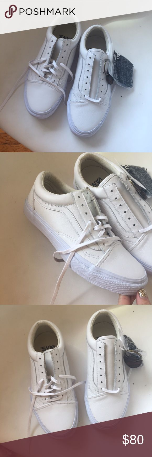 White Leather Vans - Woman's 7. Brand New White Leather Vans - Woman's 7. Brand New. Comes with black laces Vans Shoes Sneakers