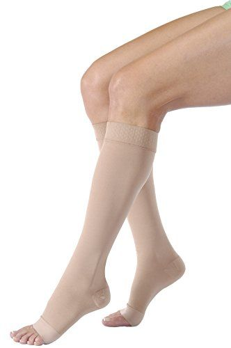 e32ae710f1c Jobst Relief 20-30 mmHg Open Toe Knee High Firm Compression Stockings with  Silicone Border Extra Large Beige Regular Open Toe  firm
