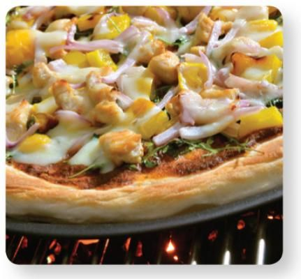 Grilled Turkey Pizza with Arugula, Asiago Cheese and Fire Roasted Tamato-Pepper Sauce Recipe