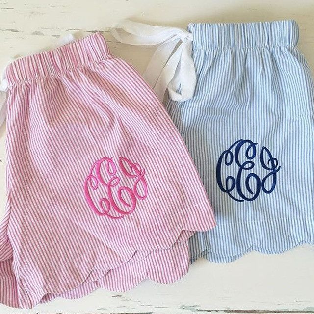 The cutest beach cover up, lounge shorts are Back in stock! Classic seersucker and perfect monogram gift! Makes a super fun girls weekend or bachelorette gift- Call for 20% discount on orders of 6 or                                                                                                                                                                                  More