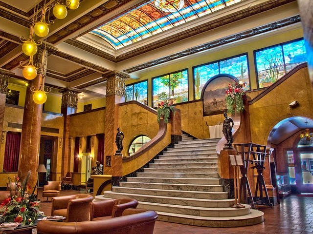 Gadsden Hotel in Douglas Arizona. I had breakfast here, so beautiful and ornate. I had no idea about it's history at the time. Pancho Villa supposedly rode his horse up the stairs.