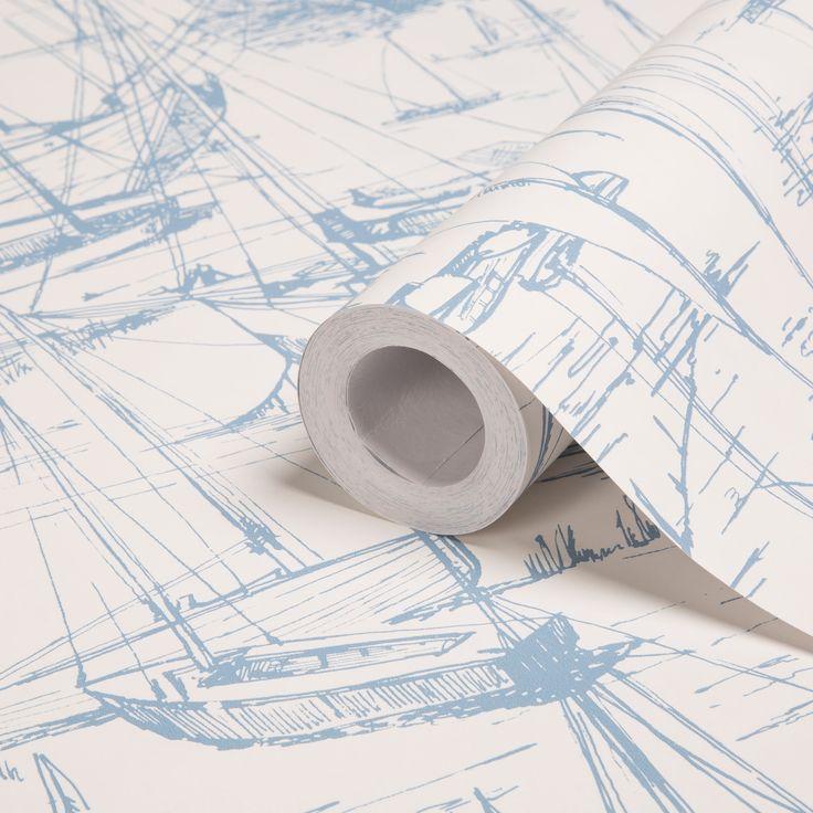 Colours Harbour Blue Illustration Wallpaper | Departments | DIY at B&Q