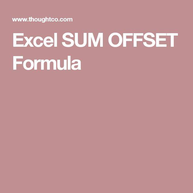 Excel SUM OFFSET Formula