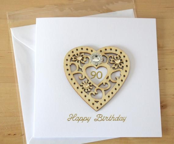 Luxury Unique Wooden Heart 21st 30th 40th 50th 60th 70th 80th 90th 100th Birthday Card Gift For Woma 60th Birthday Cards 100th Birthday Card 70th Birthday Card
