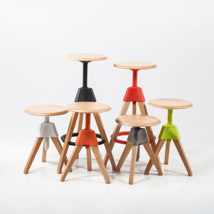 Tabouret à vis en bois et acier - Fun - 4 Pieds : tables, chaises et tabourets