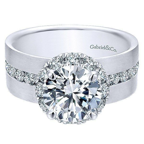 18K White Gold Wide Brushed Channel Set Diamond Engagement Ring