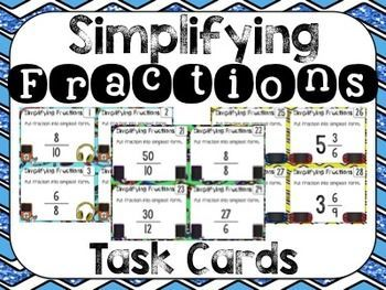 Simplifying Fractions Task Cards {Technology Theme} $