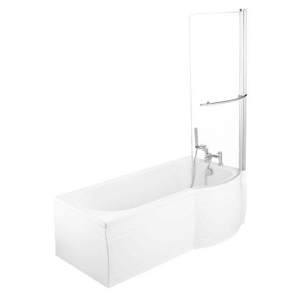 Supercast p shaped shower bath slim fit 1675 x 700mm 0th for P bathroom suites cheap