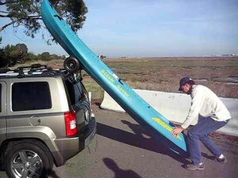 Loading a kayak with a Wheeleez cart.