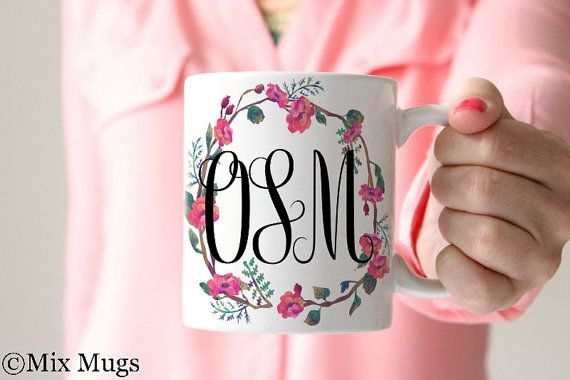 Monogram Mugs, Mugs Personalized, Custom Name Mugs, Monogrammed Gifts, Coffee Mugs for Her, Preppy Mugs, Monogram Gifts for Teens  (P2111)