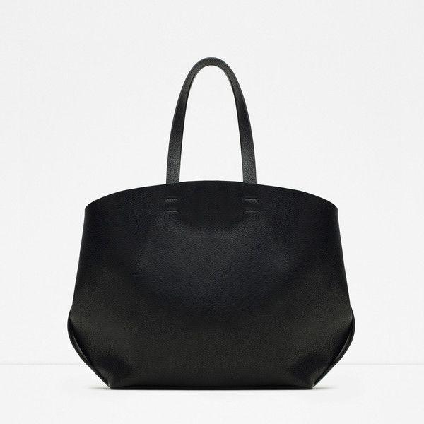 Zara Contrasting Tote Bag (£26) ❤ liked on Polyvore featuring bags, handbags, tote bags, black, zara tote, zara handbags, genuine leather tote bag, black purse and zara tote bag