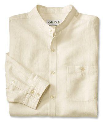 Cool Linen/Cotton Banded-Collar Shirt