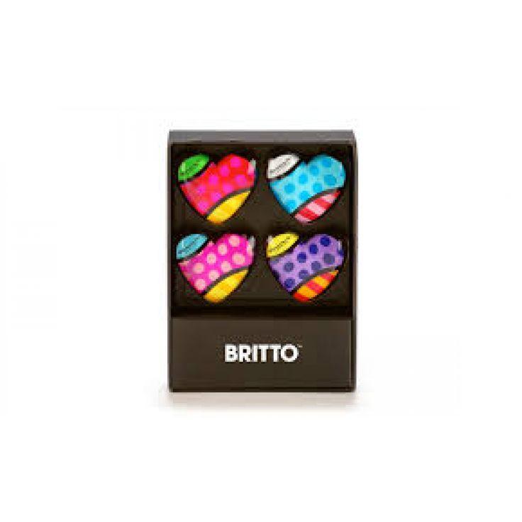 Set of 4 Glass Heart Magnets Britto - Romeo Britto by General - ROMEO BRITTO  - COLLECTABLES