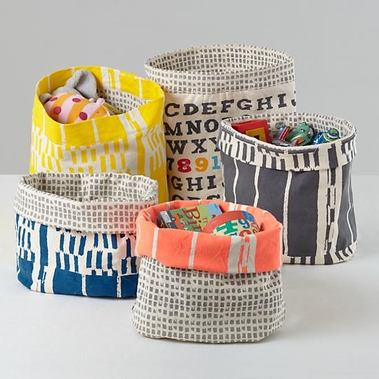Super cute! $27.95 each Kids Storage: Fluf Screen Printed Floor Bins in Storage Collections | The Land of Nod