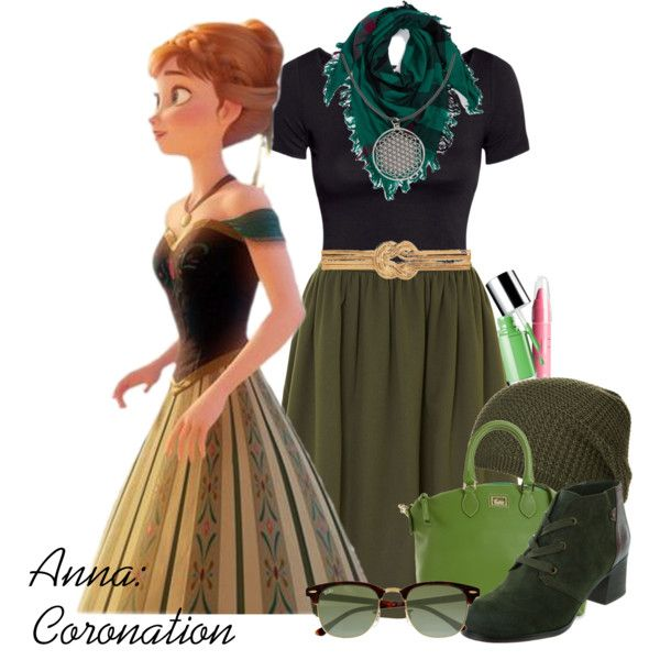 Anna: Coronation by karlynedc on Polyvore featuring H&M, Kilian Kerner Senses, Naturalizer, Dooney & Bourke, Burberry, Anna Field, Ray-Ban, Forever New, Clinique and disney