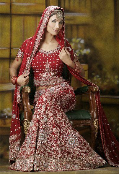 red n white indian bridal outfit - Google Search