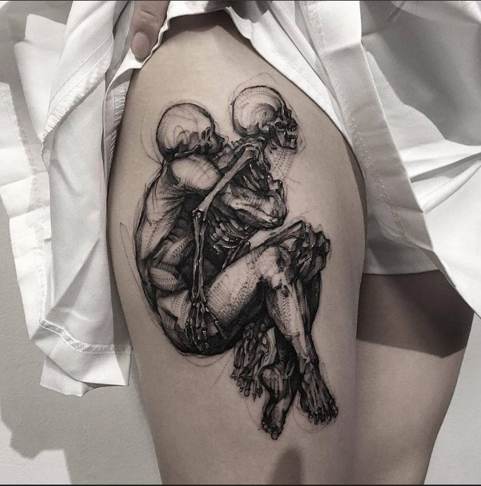 This skeleton leaving the body is a moving piece by BK Tattooer. #inked #