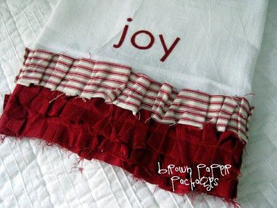 {ruffled flour sack dishtowels} - Would be cute with a rooster embroidered on it!