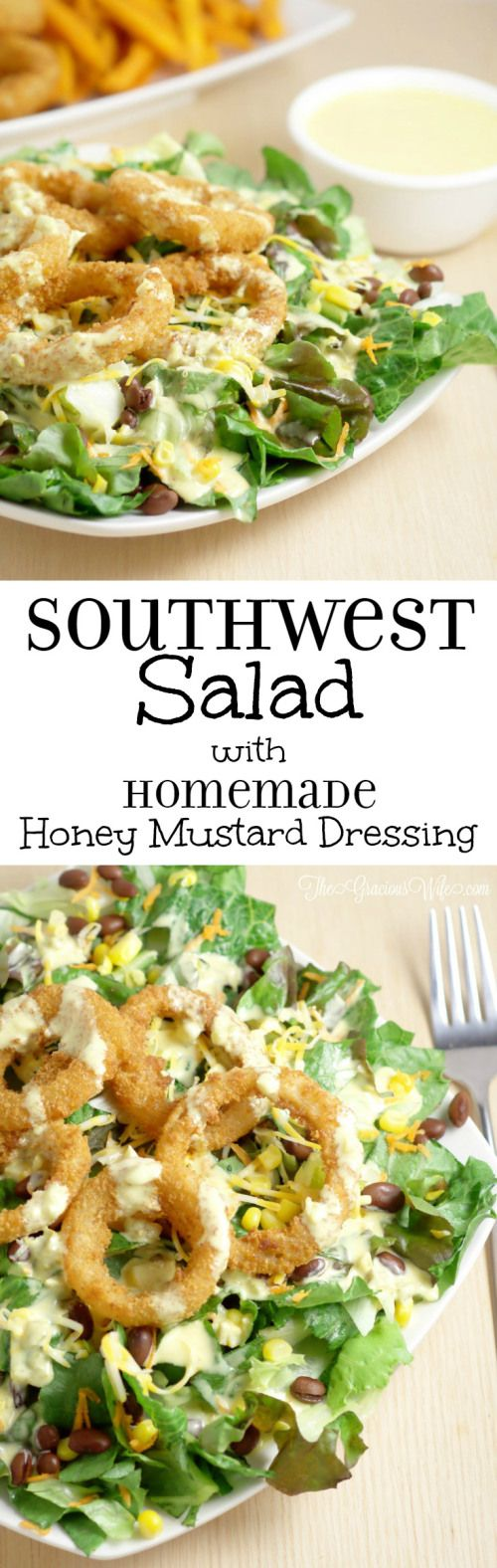 Onion Ring Southwest Salad Recipe with Spicy Honey Mustard Dressing Recipe - an easy salad recipe that's perfect for lunch or dinner.