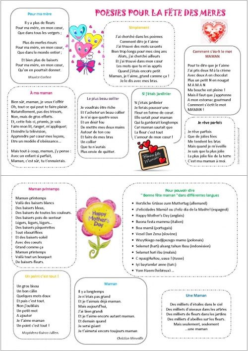 poesie fete des meres maternelle - Recherche Google
