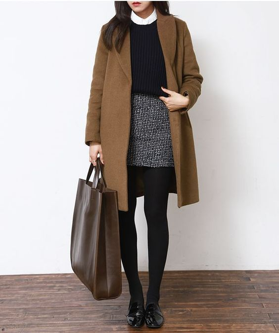 /roressclothes/ closet ideas #women fashion outfit #clothing style apparel Camel Coat and Black Basic Skirt with tights winter work wear