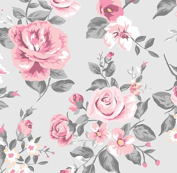 Vintage Grey And Pink Rose Floral Wallpaper Etsy In 2020 Floral Wallpaper Rose Wallpaper Wallpapers Vintage