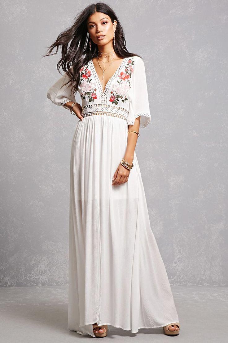 cee9bb557c Fließende Kleider, Weiße Maxi-kleider, Maxi Kleid Mit Ärmeln, Maxikleid Mit  Blumen
