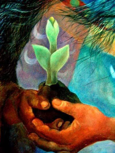 """En mi corazón creo que somos como los árboles ... alcanzando hacia arriba. """"En el bosque de ningún árbol crece recta. Pero en su totalidad alcanzan para arriba hacia la luz y la bondad de la vida."""" ~ Proverbio del nativo americano Pintura de Martha Ramírez-Oropeza."""