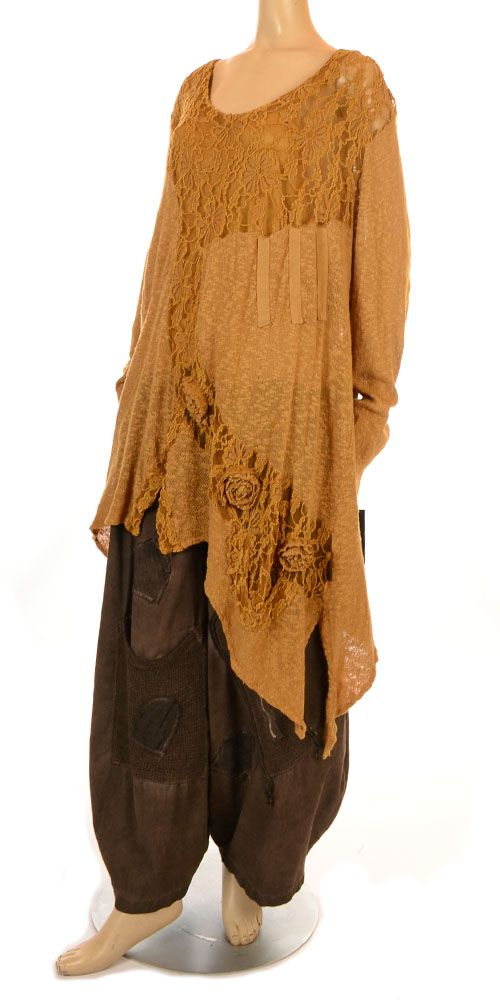 Sarah Santos Mustard & Gold Knit & Lace Two Piece Layering Tunic Set-Sarah Santos, lagenlook,