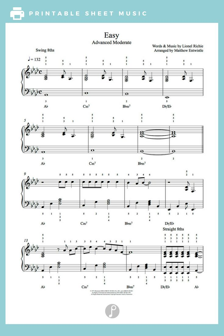 Easy By Commodores Piano Sheet Music Advanced Level Sheet Music Piano Sheet Music Digital Sheet Music