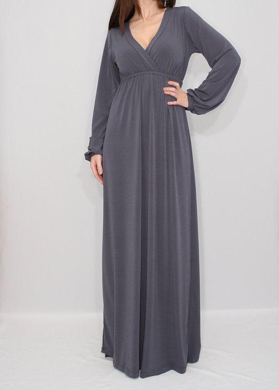 Gray dress Maxi dress Empire waist dress Long Sleeve by KSclothing