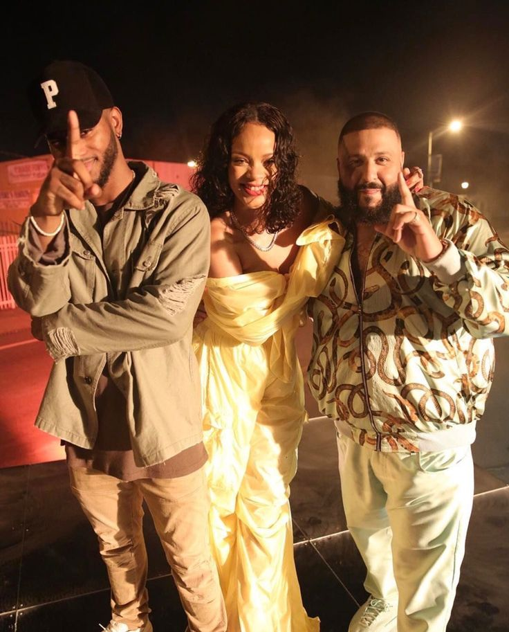 Rihanna, Bryson Tiller and DJ Khaled on set of their Music Video in Miami.