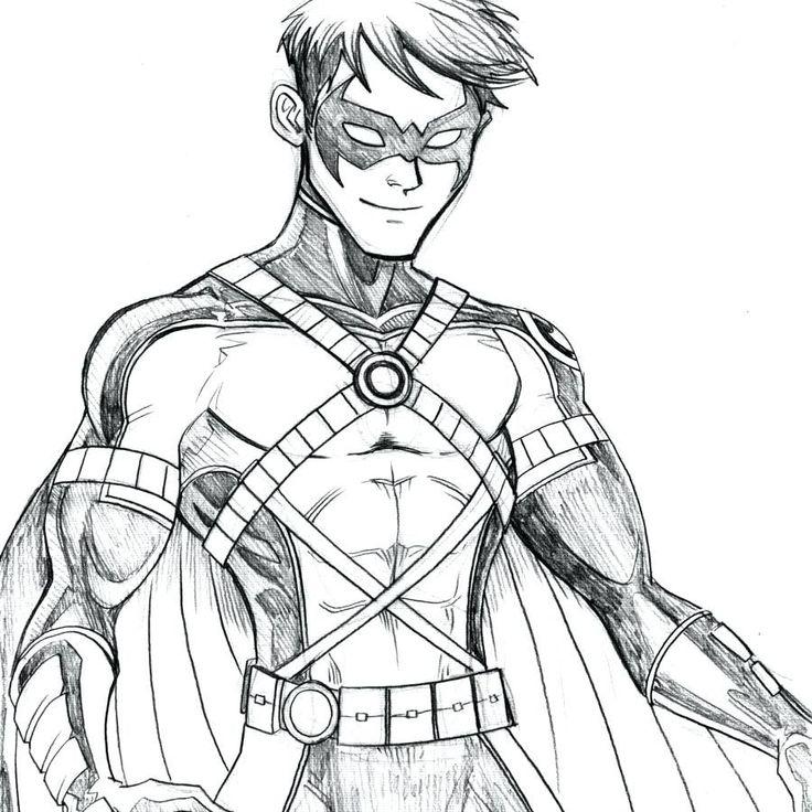 Robin Nightwing Batman coloring page sketch   Batman ...
