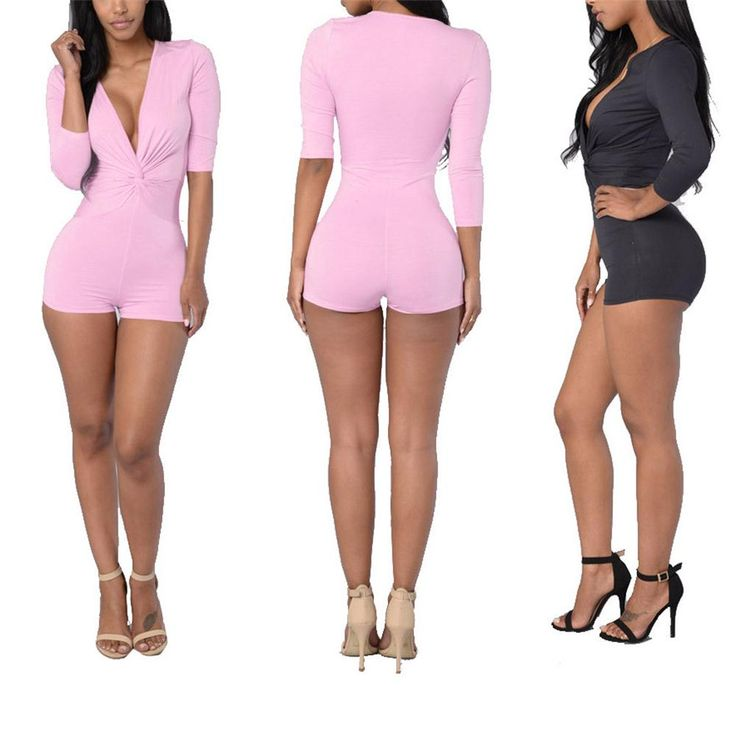 2016 Women Sexy Deep V Neck Long Sleeve Pure Color Drape Skinny Jumpsuit Gray…