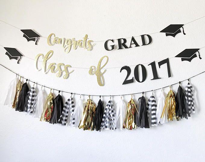 Pancarta de graduación | Felicidades Grad de la bandera | Clase de pancarta 2017 | Decoración fiesta de graduación | ¡Felicidades bandera | Graduatio negro y oro