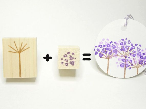 Flower rubber stamp DIY wedding Making by JapaneseRubberStamps