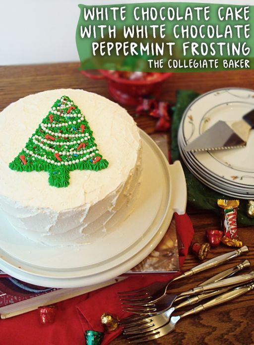 Made this today with the exception of the buttercream! Soooo good! I made it in a snowflake tin and topped it with white sugar. White Chocolate Cake with White Chocolate (Peppermint) Buttercream [thecollegiatebaker.com]