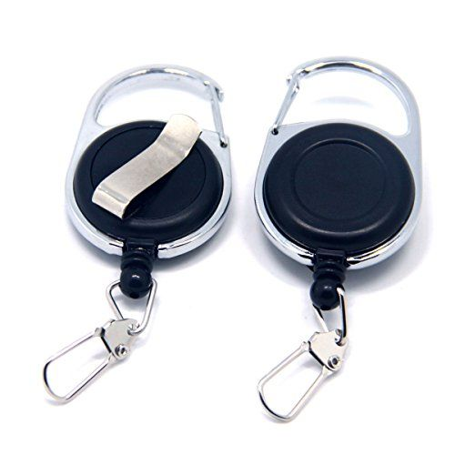 SAMSFX Retractable Key Chain Reel for Badge Holder Fly Fishing Zinger Retractor with Carabiner Clip Nylon Cord 2pcs Packed  https://fishingrodsreelsandgear.com/product/samsfx-retractable-key-chain-reel-for-badge-holder-fly-fishing-zinger-retractor-with-carabiner-clip-nylon-cord-2pcs-packed/  Zinger Size: 65mm * 35mm (L*W) Nylon Cord Length: 600mm Material: alloy frame, durable nylon cord, plastic body, 25mm length metal buckle