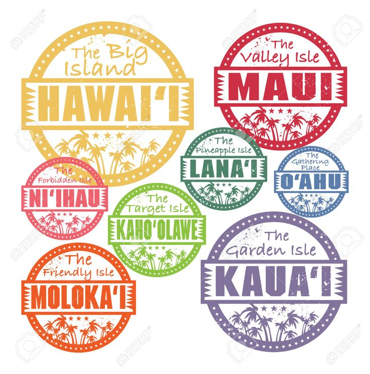 Grunge Rubber Stamps With Palms And The Hawaii Islands Names.. Royalty Free Cliparts, Vectors, And Stock Illustration. Image 26131351.