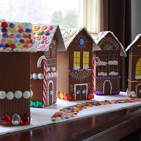 Made from recycled milk cartons, these are gingerbread houses that you can bring out year after year.